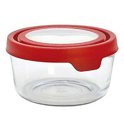 Anchor Hocking Glass Storage Container - Round - 7 cups - Red