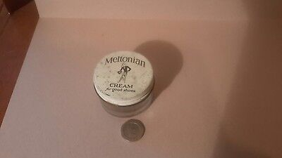 vintage retro collectible advertising meltonian cream for shoes empty jar