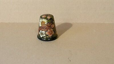 Vintage Wooden Hand Painted Thimble 040