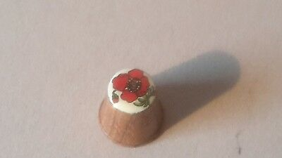 Vintage wooden Thimble with Poppy Flower inlay 027