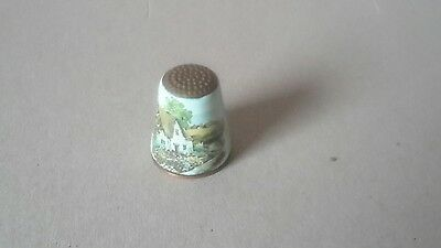 Copper and Porcelain Thimble with Cottage Scene 012