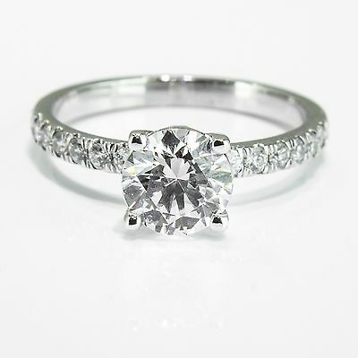 2.25 CT Certified Round Cut Diamond Engagement Ring 14K White Gold D/SI Enhanced