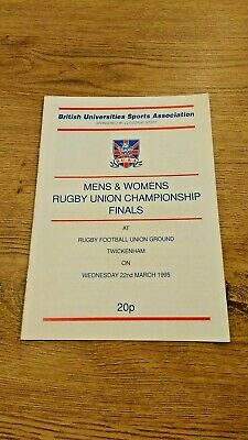 University of Wales v West London Ins 1995 BUSA Final Rugby Union Programme