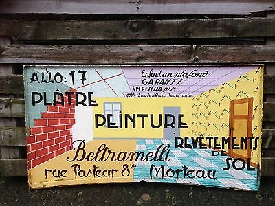 Vintage French Trade Sign For Decorator. Hand Painted.