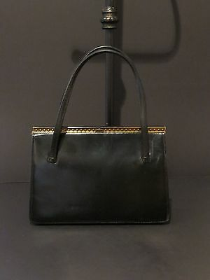 Stylish Classy English Made Vintage Black Leather Handbag From Riviera Bag
