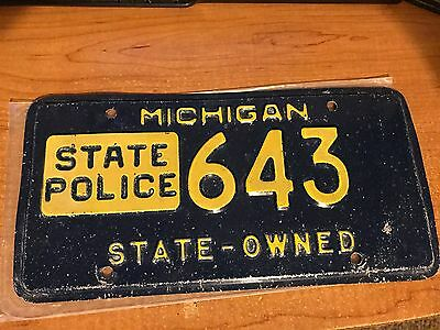 Michigan State Police License Plate State Owned Blue Gold Unbelievable!!
