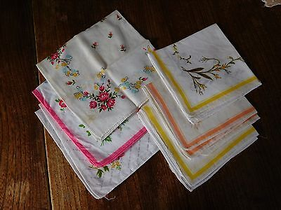 6 x ladies cotton hankies with flowers - assorted colours