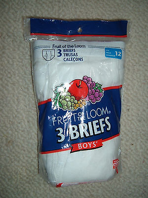 (2) 3-Pack Fruit Of The Loom Boys sz 12 Briefs White 100% Cotton Sealed Package