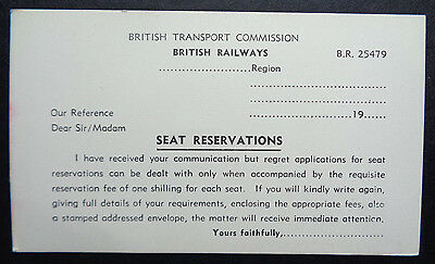 British Railways - Seat Reservation Request Rejection Card - BR 25479