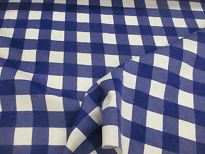 4 Metres White & Royal Blue Checked 100% Brushed Cotton Flannel Fabric.