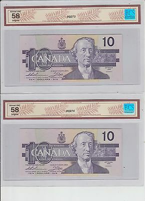 Canada 10 Dollars, 1989 BC-57a lot of two consecutive bills AU 58