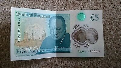new £5 note AA01 BANK NOTE