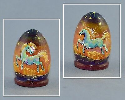 Russian Lacquer Handpainted Thimble - Horses