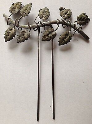 Victorian Nouveau Silver Wash Hinged Metal Hair Ornament Leaves Dangling Berries