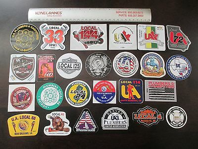 Lot of 25 UA Plumbers Pipefitters Labor Trade Union Hard Hat Stickers Decals