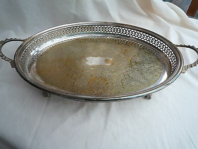 Vintage Silver Plate Tray With Pierced Design  Ball And Claw Feet