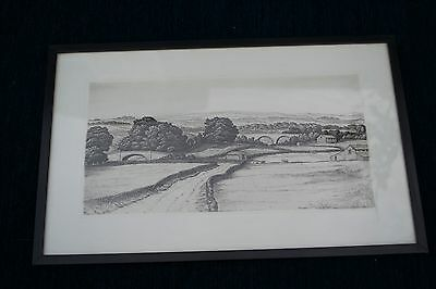 Antique Original Etching Of Countryside Scene Yorkshire? Yorkshire Dale