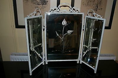 Antique Metal Framed Dressing Table Mirror Victorian Cut Glass 3 Sections