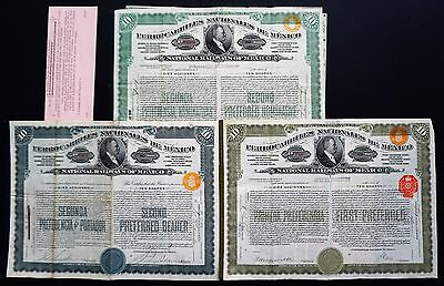 Mexico - 3x different National Railways of Mexico 1909-1920