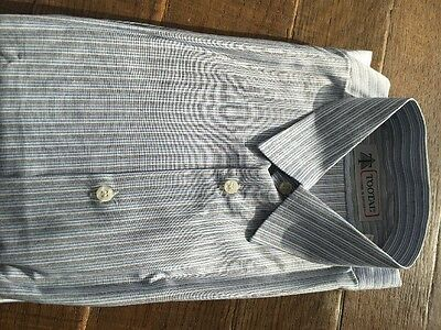 """Men's Formal Shirt Grey Blue And White Stripes Size 17"""""""