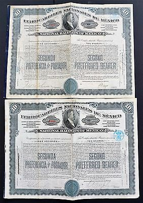 Mexico - 2x National Railways of Mexico - second preferred shares 1909-1913