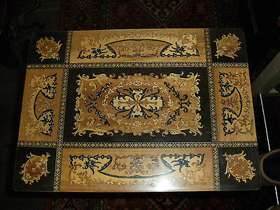 Vintage Inlaid Wood Musical Table Sewing Table, Made In Italy