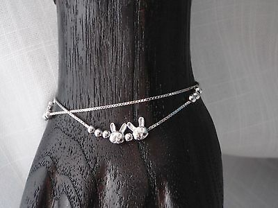 925 Sterling Sliver Bracelet with Rabbit Bunny Charms - Double Strand Box Chain