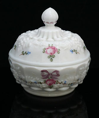 Westmoreland Milk Glass Hand Painted Marked Covered Pot