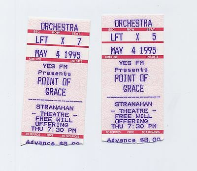2 Old Used Point of Grace Concert Ticket Stubs YES FM Stranahan Theatre May 1995