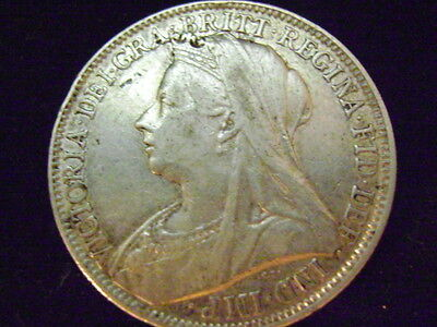 1901 Great Britian FLORIN / TWO SHILLINGS SILVER COIN KM#781 very fine condition