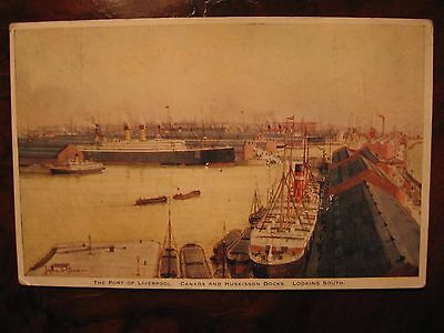 "White Star Line ""Big Four"" liner & dock panorama Liv'pl many ships c1912 pocard"
