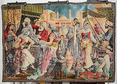 Antique Middle Eastern Arabic Tapestry Veiled Woman Market Mosque Scene~6' x 4'