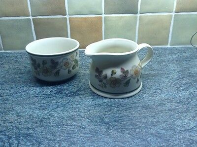 M & S Autumn Leaves Sugar Bowl And Milk Jug Immaculate
