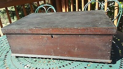Antique American Bible Document Box 19th Century Tabletop Wood