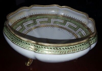 Antique Handpainted Nippon Porcelain Footed Bowl Moriage Style
