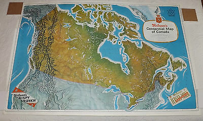"""Vintage 1967 Neilson's Chocolate Centennial Map of Canada 28"""" X 42"""" Two-sided"""