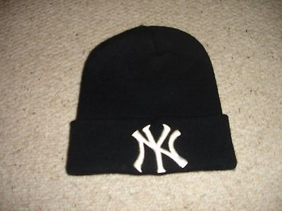 """ny"" New York Style Woolly Beanie Hat : Black Hat"