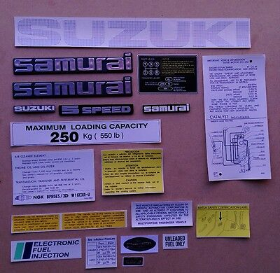SUZUKI SAMURAI EMBLEMS AND DECALS (gray)