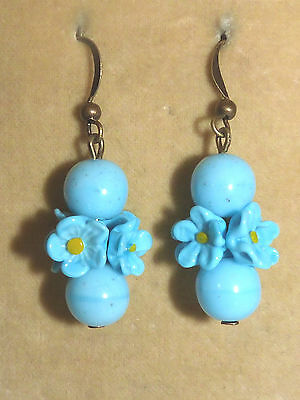 Vintage 1930s turquoise glass  flower bead earrings to match deco necklaces