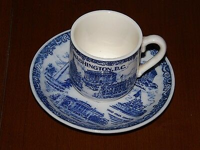 Washington DC. Demi Tasse and Saucer. Faux Flow Blue - Made in Japan Very Nice