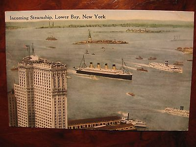 """White Star Line RMS """"Olympic'"""" arrives at NY poss maiden voyage c1911 pocard"""