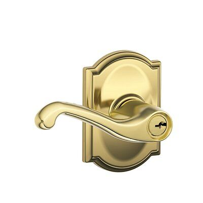 Schlage F51 FLA 605 CAM Camelot Flair Keyed Entry Lever, Bright Brass