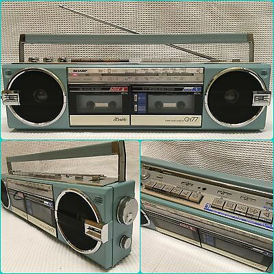 SHARP QT-77Z(BL).  Vintage 1980's Double Stereo Radio Cassette Recorder. Boombox