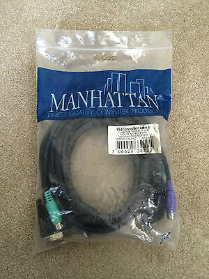 Manhattan KVM PS/2 PS2 Cables Mouse Monitor Keyboard 6 foot Cable Unopened