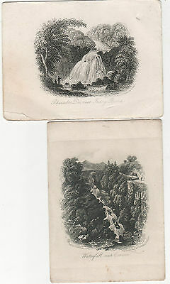 Engraving Waterfall Corwen.and Rhaiadr Engraved By Newman Watling St. London