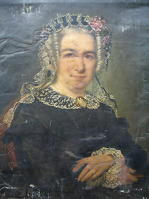 ANTIQUE 19thCENTURY OIL PAINTING OF A LADY