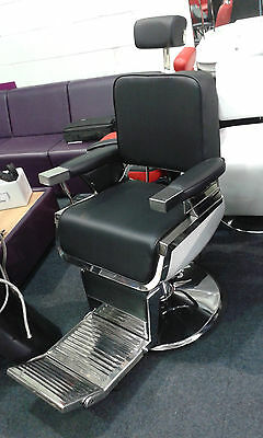 Black Upholstered, Reclining, Hydraulic, High Quality Barber Chair, 70kgs
