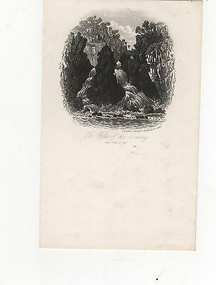 Engraving The Falls Of The Conway.double Page Letter Engraved Newman London
