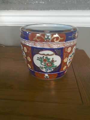"""Japanese gold Imari hand painted planter pot ornament. 6""""wide x5"""" tall"""