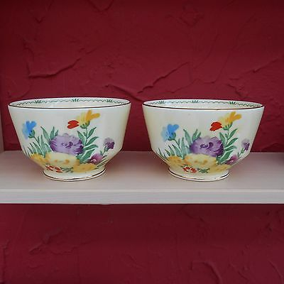 Good Pair Vintage Art Deco Crown Staffordshire Bowls  -  F13287